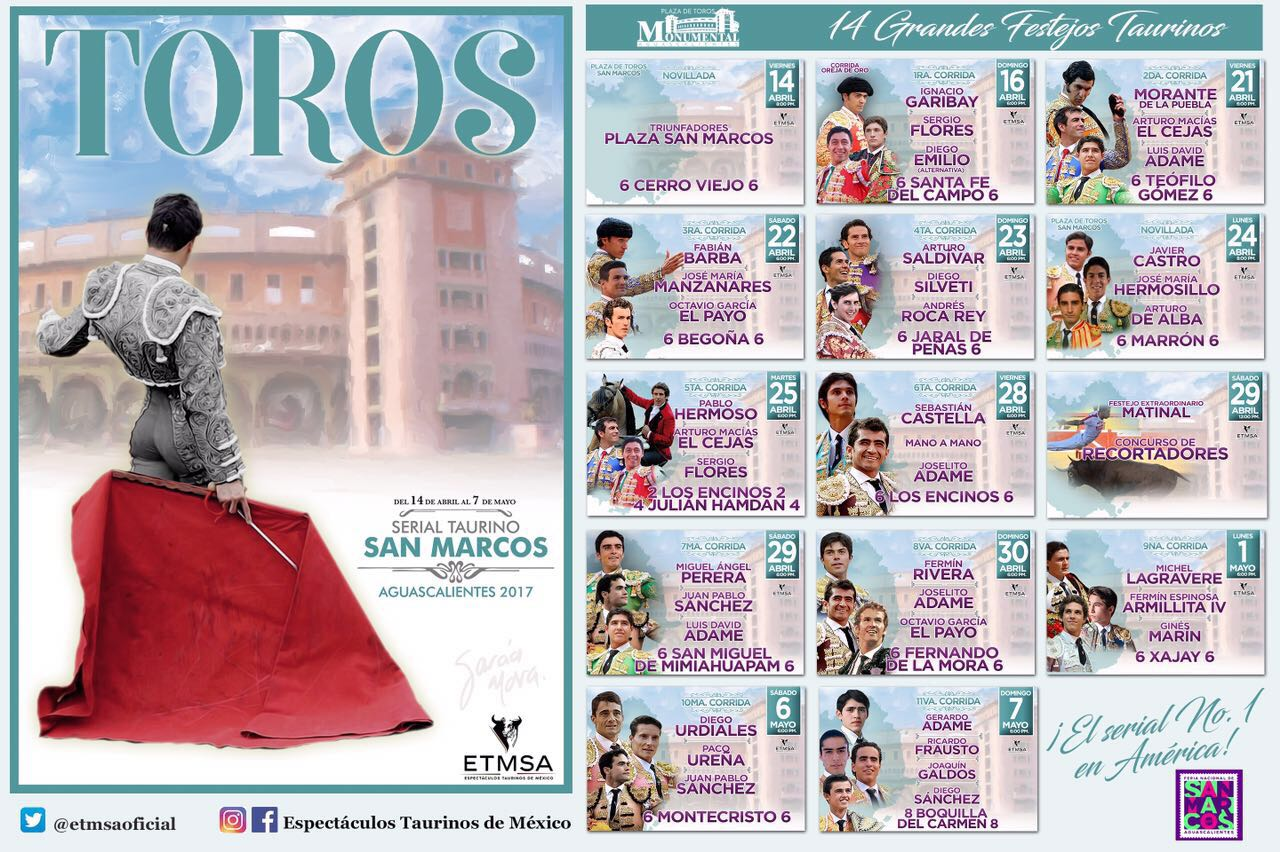 Presentan carteles del serial taurino San Marcos 2017