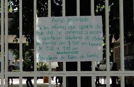 Demanda Nueva Alianza desaparición total de cuotas escolares